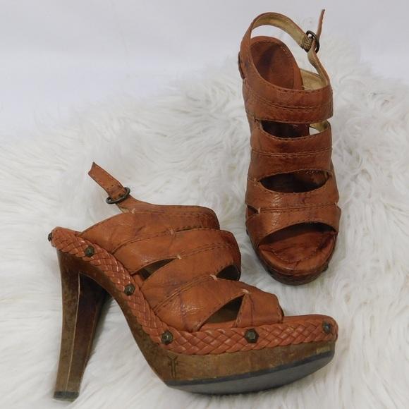 59914e26add Frye Shoes - FRYE platform heels woven sling backs 9 M